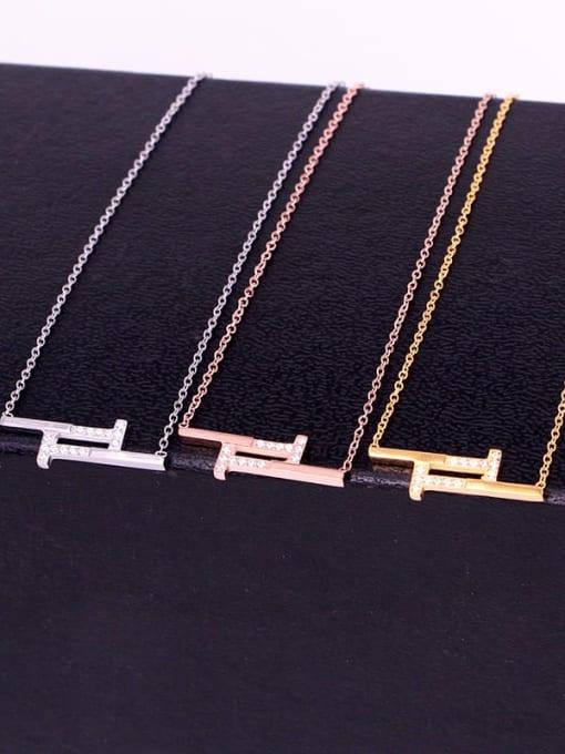 K.Love Titanium Steel Rhinestone Geometric Minimalist Necklace 1