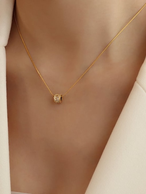 P1026 gold full diamond  40+5cm Titanium Steel Cubic Zirconia Minimalist Round  Earring and Necklace Set