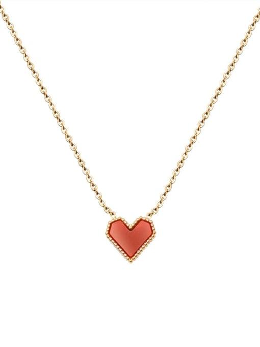 MAKA Titanium Steel AcrylicHeart Minimalist Necklace