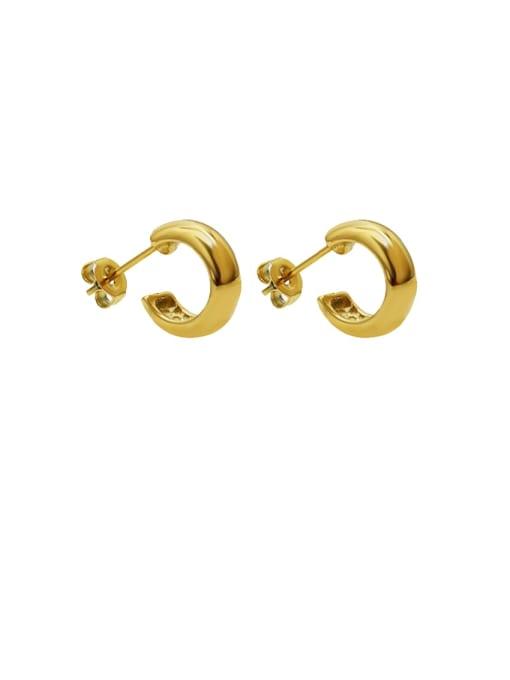 golden Titanium Steel Geometric Minimalist Smooth C shape Stud Earring