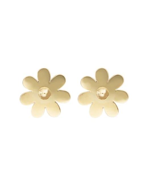 Gold Geometric flower shaped elegant titanium steel earrings
