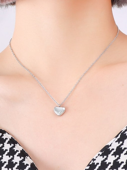 P051 steel peach heart necklace 40+ 5cm Titanium Steel Heart Minimalist Necklace