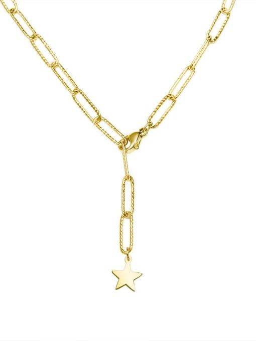 P483 gold necklace 40cm Titanium Steel Geometric Minimalist Lariat Necklace