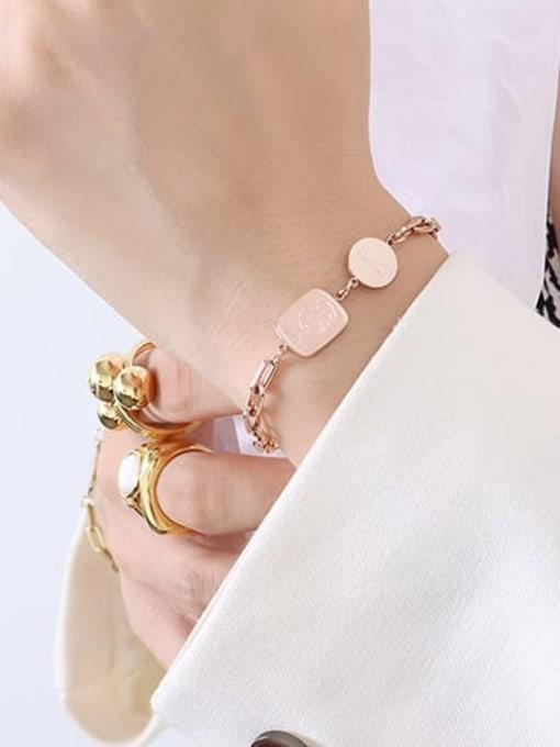 E097 Rose Bracelet 15+ 5cm Titanium Steel Geometric Minimalist Link Bracelet