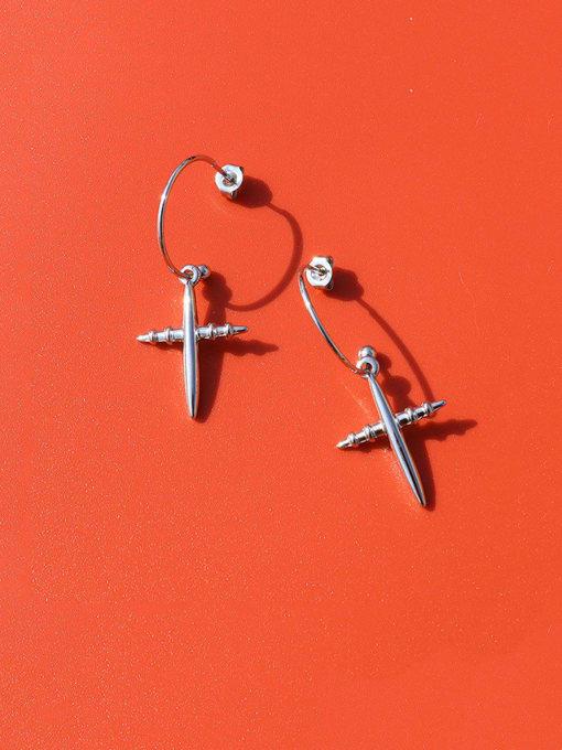 MAKA Titanium Steel Cross Minimalist Hook Earring 2