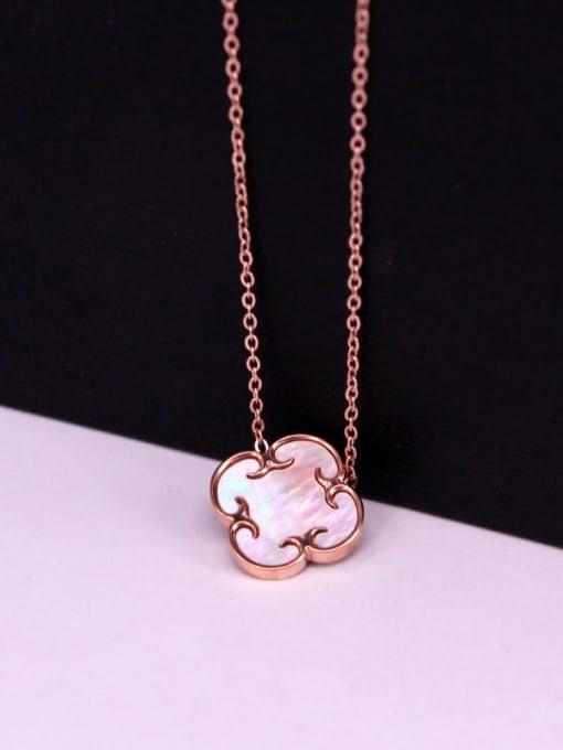 K.Love Titanium Steel Shell Clover Minimalist Necklace 1