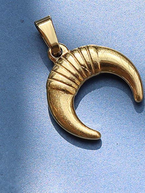 D21 Golden Crescent Titanium Steel  Moon Star Vintage Pendant