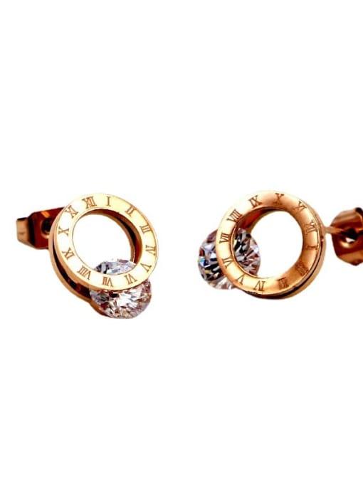K.Love Titanium Steel Cubic Zirconia Number Minimalist Stud Earring 4