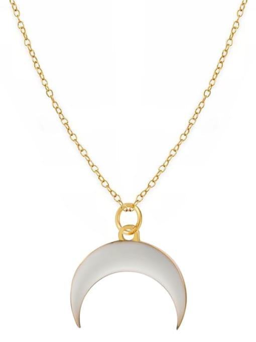 White Fashion Candy Color Water Drop Crescent Pendant Titanium Steel Necklace
