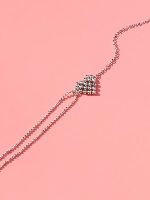 Steel color Bracelet 15 cm Titanium Steel Bead Heart Vintage Link Bracelet