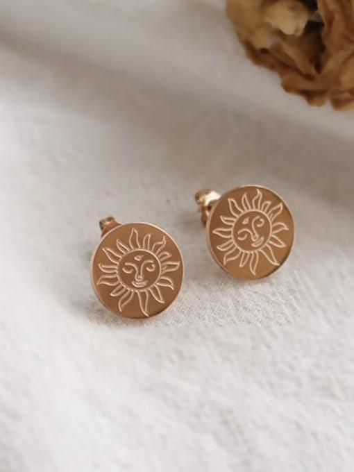 Rose Gold Titanium Steel Round Minimalist Stud Earring