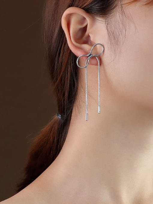f224 steel bow earrings Titanium 316L Stainless Steel Bowknot Minimalist Threader Earring with e-coated waterproof