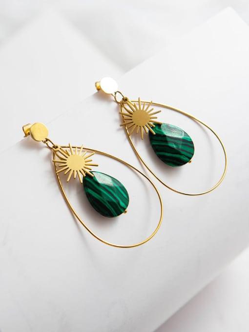 Green Inlaid fashion Sun Star Earrings