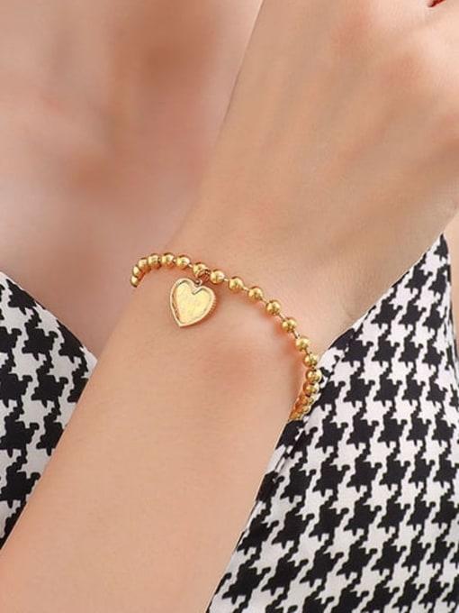 MAKA Titanium Steel Bead Heart Minimalist Beaded Bracelet 1