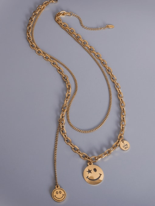 Gold smile tassel double Titanium Steel Smiley Vintage Multi Strand Necklace