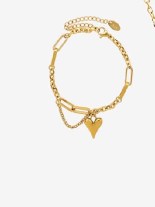 E217 heart  gold  15 cm Titanium Steel Artisan Heart Braclete and Necklace Set