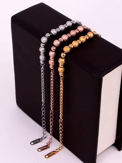 K.Love Titanium Steel Oval Minimalist Beaded Bracelet 1