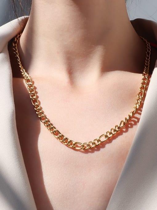 Golden medium Titanium Steel Geometric Vintage Multi Strand Necklace