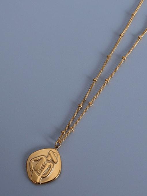 Gold texture portrait Necklace 40+5cm Titanium Steel Geometric Portrait Vintage Necklace