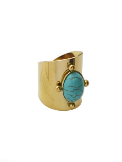 Green Natural stone vintage golden titanium steel ring