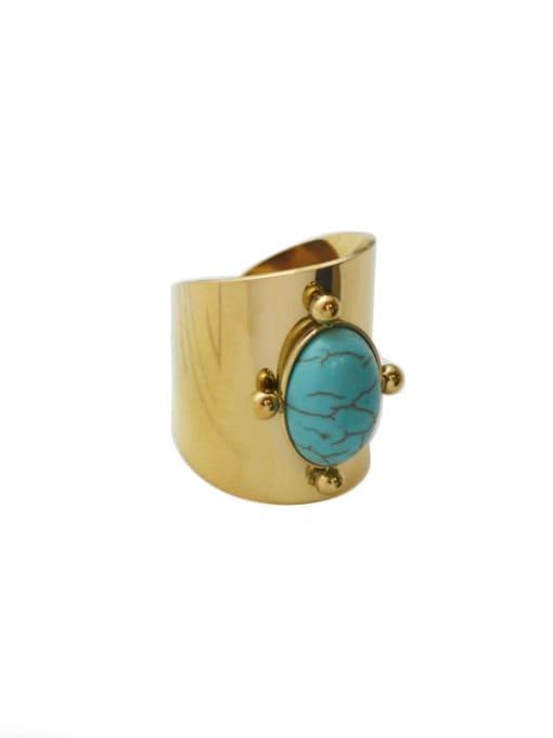 YAYACH Natural stone vintage golden titanium steel ring