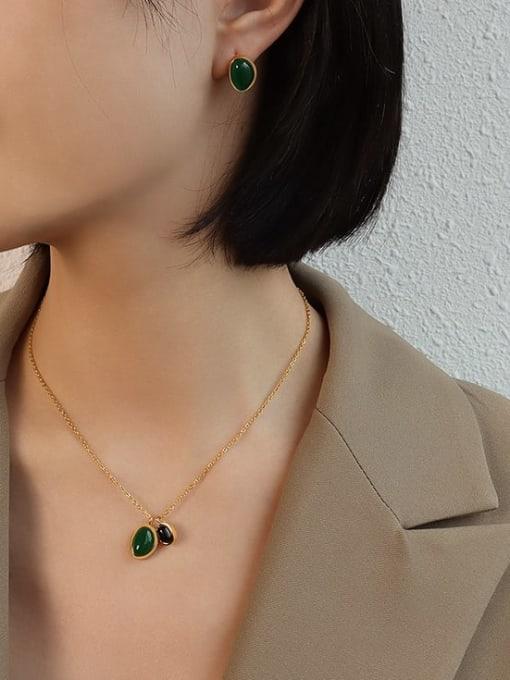 MAKA Titanium Steel Vintage Geometric  Agate Earring and Necklace Set 1