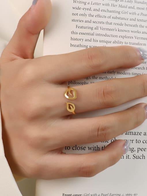 MAKA Titanium Steel Leaf Minimalist Band Ring 1