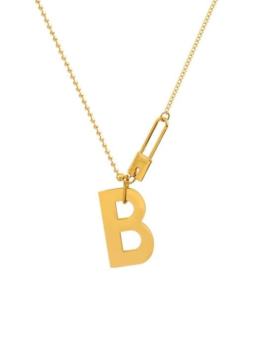 Gold 42.5cm Titanium Steel Letter Hip Hop Necklace