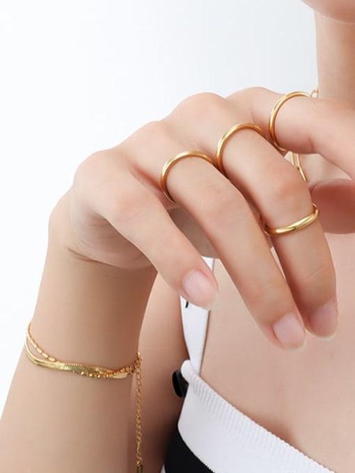 Gold US 4 Titanium Steel Round Minimalist Band Ring