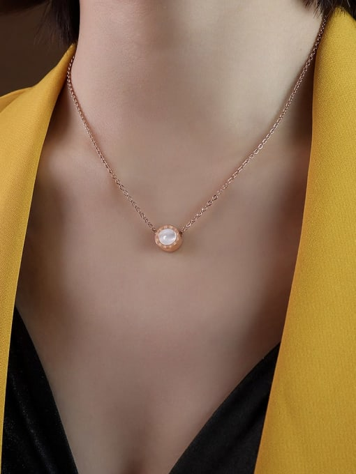 P128 Rose Gold with white Titanium 316L Stainless Steel Shell Round Vintage Necklace with e-coated waterproof