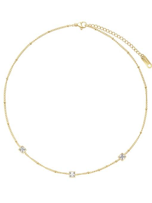 White French elegant small square combination necklace