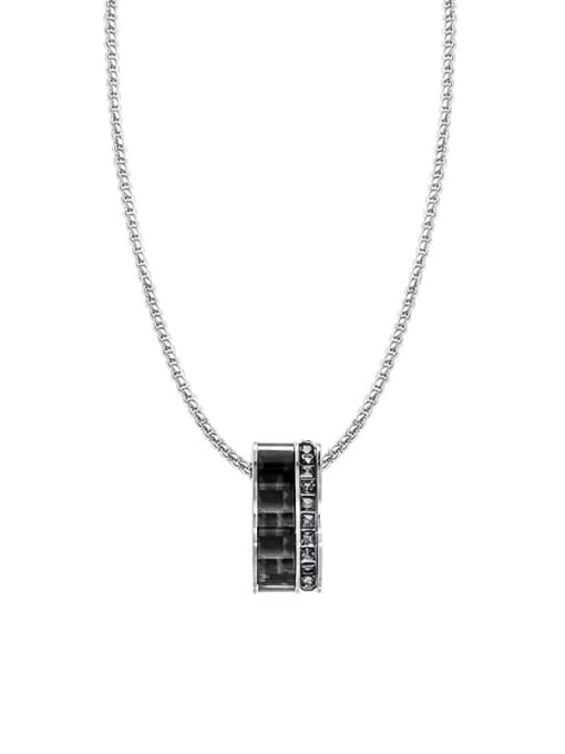 MAKA Titanium Steel Cubic Zirconia Geometric Vintage Necklace 2