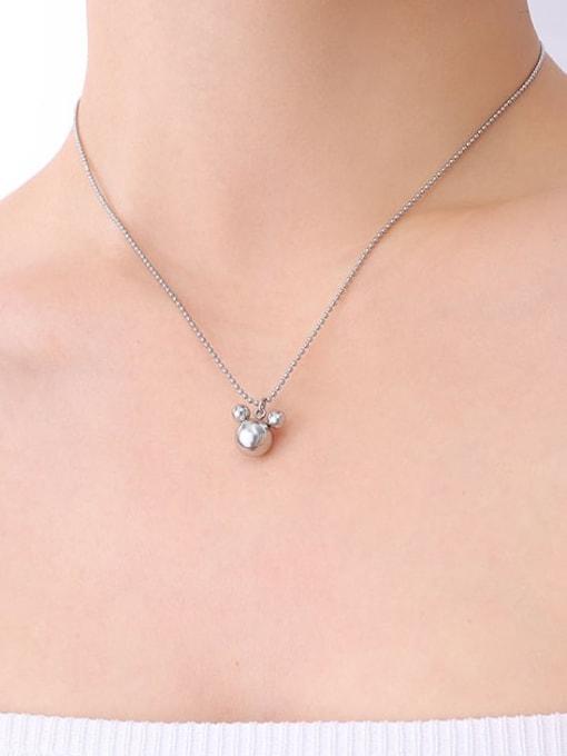 P458 steel Mickey Mouse Necklace 40+ 5cm Titanium Steel Bead Geometric Minimalist Necklace