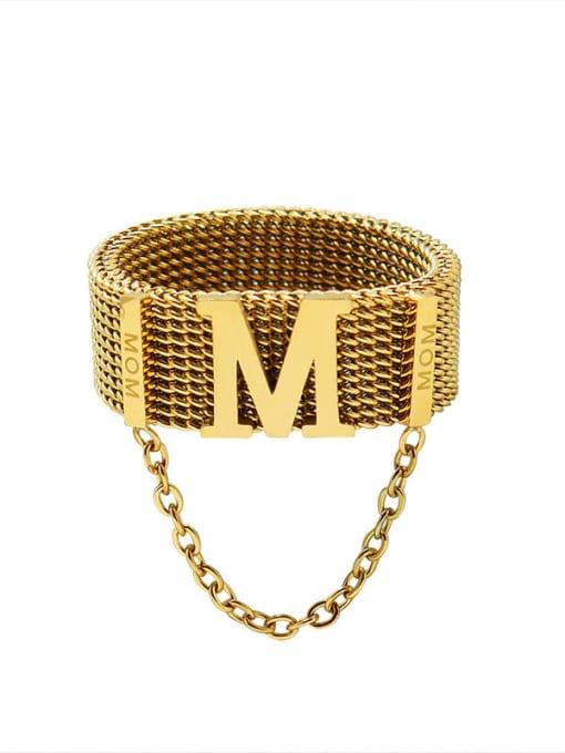 Gold ring Titanium Steel Tassel Vintage Band Ring