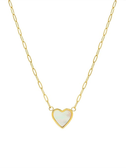MAKA Titanium Steel Shell Heart Minimalist Necklace 0