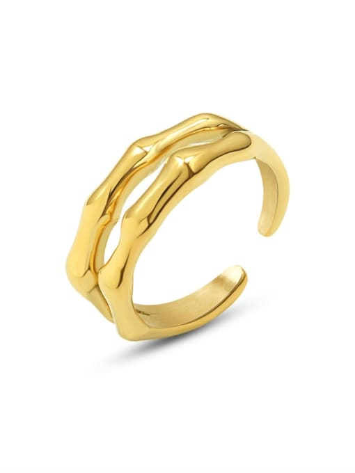 MAKA Titanium Steel Geometric Vintage Stackable Ring 0