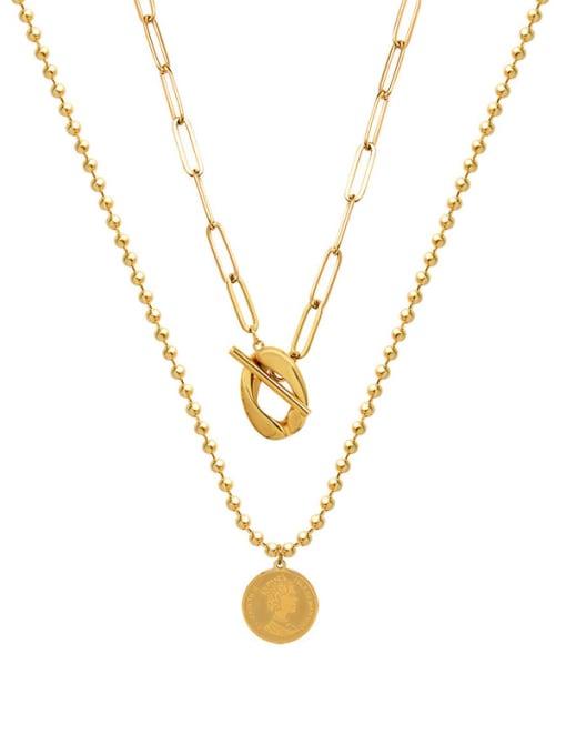 Gold  Double necklace Titanium Steel Geometric Vintage Multi Strand Necklace