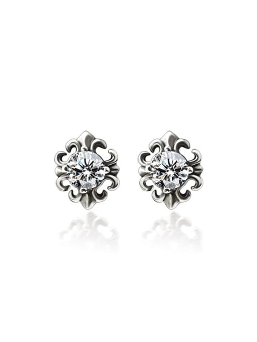MAKA Titanium Steel Cubic Zirconia Flower Vintage Stud Earring