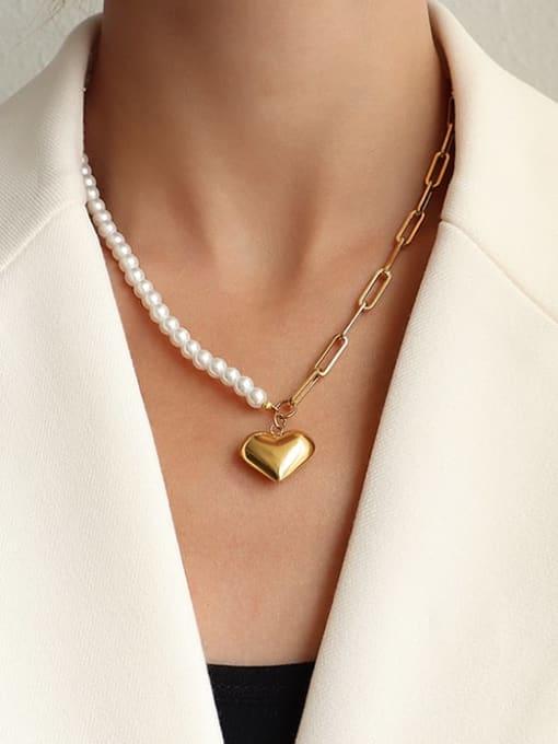 MAKA Titanium Steel Imitation Pearl Heart Vintage Necklace 1