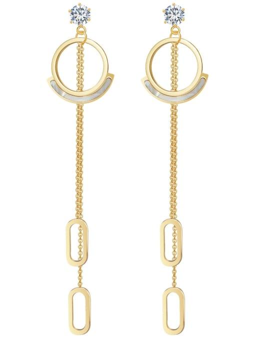 Gold Baroque crystal stainless steel simple titanium steel earrings