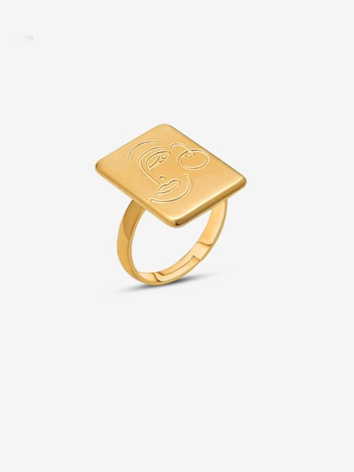 Gold face ring Titanium Steel Vintage Face geometric square Band Ring
