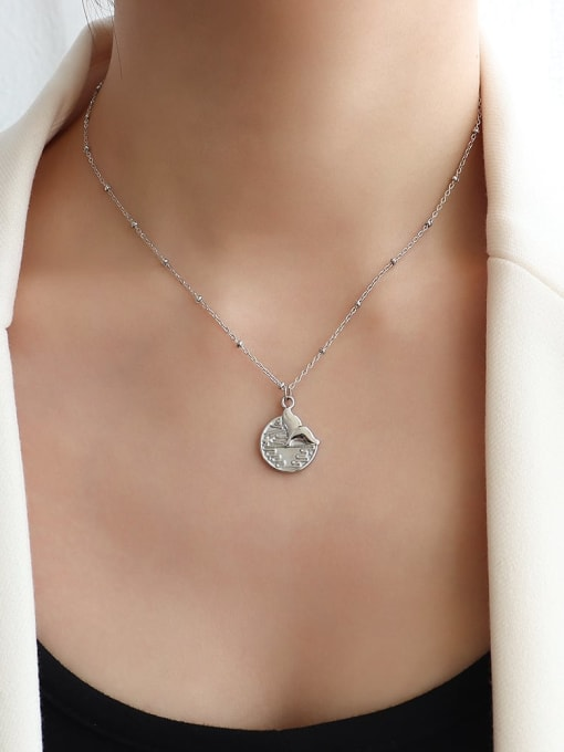 P1086 steel fishtail Necklace 40+5cm Titanium 316L Stainless Steel Flower Vintage Fishtail Pendant Necklace with e-coated waterproof