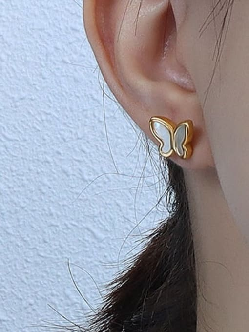 F274 Gold Earrings Titanium 316L Stainless Steel Shell Minimalist Butterfly  Earring and Necklace Set with e-coated waterproof