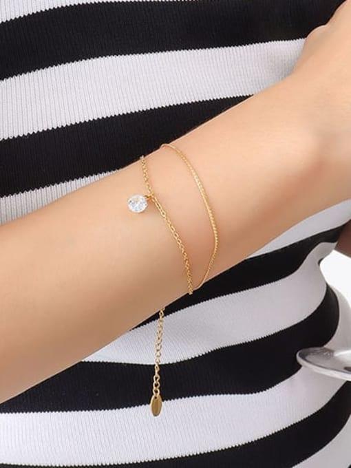 MAKA Titanium Steel Rhinestone Geometric Minimalist Strand Bracelet 1