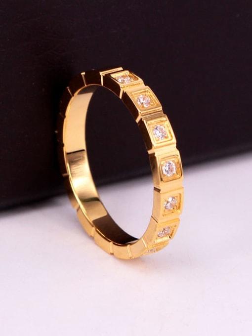 K.Love Stainless steel Rhinestone Geometric Minimalist Band Ring 3