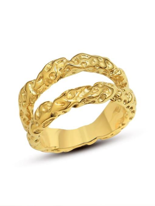 MAKA Titanium Steel Geometric Hip Hop Stackable Ring 2