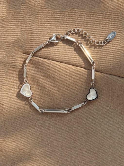 Steel color Bracelet 16 +4cm Titanium Steel Shell Heart Vintage Bracelet