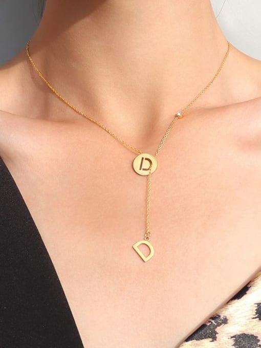 MAKA Titanium Steel Tassel Minimalist Lariat Necklace