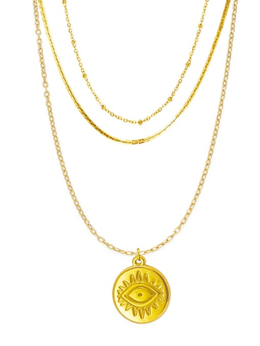 YAYACH French Fine Eye Coin Pendant Multi-layered snake-shaped clavicle chain