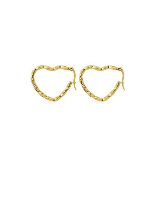 Gold +Big Heart Titanium Steel Hollow Heart Minimalist Huggie Earring